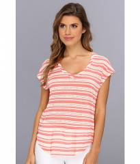 Splendid Marina Eyelet Stripe Tee Coral at 6pm