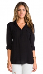 Splendid Shirting Top in Black  REVOLVE at Revolve