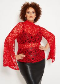 Split Sleeve Lace Mock Neck Top by Ashley Stewart at Ashley Stewart