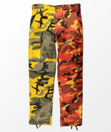 Split Yellow & Orange Camo Cargo Pants at Zumiez