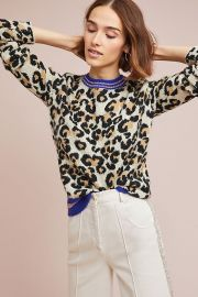 Sporty Leopard Sweater at Anthropologie