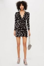 Spot Satin Frill Dress - Clothing at Topshop