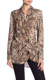 Spread Collar Snakeskin Print Blouse by Dress Forum at Nordstrom Rack