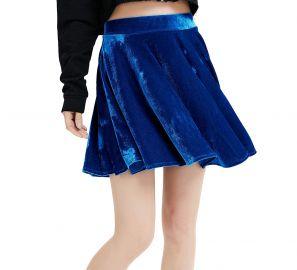 Springfavor Womens Vintage Velvet Stretchy Flared A-Line Mini Skater Skirt at Amazon