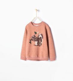 Squirrel sequinned sweatshirt at Zara