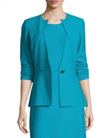 St  John Collection Clair Knit Peplum Jacket  Blue   Neiman Marcus at Neiman Marcus
