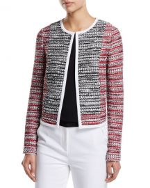 St  John Collection Amelia Knit Tweed Jacket with Contrast Binding at Neiman Marcus