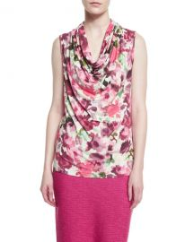 St  John Collection Brigitte Floral-Print Cowl-Neck Shell at Neiman Marcus