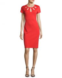 St  John Collection Cutout-Neck Milano Knit Dress  Red at Neiman Marcus