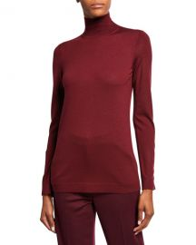 St  John Collection Extrafine Merino Wool Jersey Turtleneck Sweater w  Button Detailing at Neiman Marcus