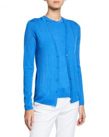 St  John Collection Fine-Gauge Pointelle Rib Knit Cardigan at Neiman Marcus