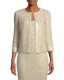 St  John Collection Gilded Eyelash Knit Jacket with Hand-Beaded Trim at Neiman Marcus