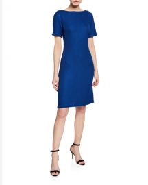 St  John Collection Gridded Texture Bateau-Neck Short-Sleeve Dress w  Fringe Trim at Neiman Marcus