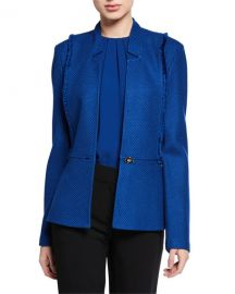 St  John Collection Gridded Texture Knit Jacket with Notch Collar  amp  Fringe Trim at Neiman Marcus