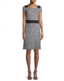 St  John Collection Inlaid Knit Cap-Sleeve A-line Dress at Neiman Marcus