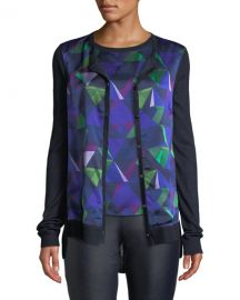 St  John Collection Jersey Knit Cardigan w  Geo-Print Silk Front at Neiman Marcus