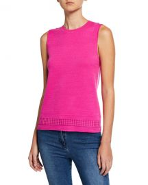 St  John Collection Pattern Knit Shell Top at Neiman Marcus