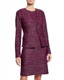 St  John Collection Plunging V-Neck Ombre Ribbon Tweed Jacket at Neiman Marcus