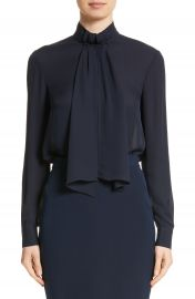 St  John Collection Scarf Neck Tie Blouson Sleeve Blouse at Nordstrom