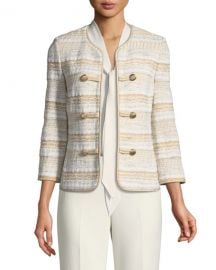 St  John Collection Speckled Stripe Tweed Knit Jacket at Neiman Marcus