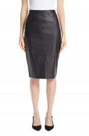 St  John Collection Stretch Nappa Leather Pencil Skirt   Nordstrom at Nordstrom