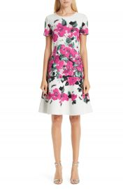 St  John Collection Vibrant Blooming Jacquard Fit  amp  Flare Dress   Nordstrom at Nordstrom