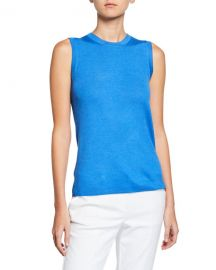 St  John Collection Wool-Silk Pointelle Rib Shell at Neiman Marcus