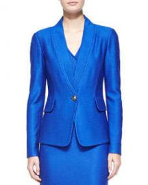 St John Collection Matte and Shine Chevron Knit Jacket at Neiman Marcus