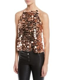 Staci Sequined Halter Top at Neiman Marcus