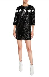 Star Applique 3/4-Sleeve Sequin Cocktail Dress at Bergdorf Goodman