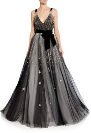 Star-Embroidered V-Neck Ball Gown by Monique Lhuillier at Moda Operandi