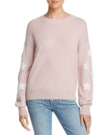 Star-Sleeve Distressed Cashmere Sweater at Bloomingdales