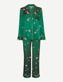 Star-pattern silk-satin pyjama set at Selfridges