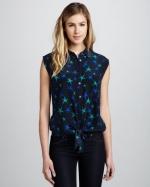 Star print sleeveless shirt by Equipment at Neiman Marcus