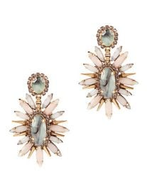 Statement sage earrings at Intermix