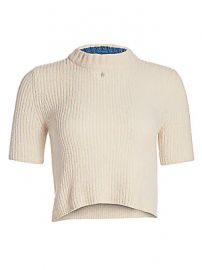 Staud - Moody Rib-Knit Short-Sleeve Crop Sweater at Saks Fifth Avenue