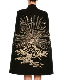 Stella McCartney Wool Coat Cape with Volcano Embroidered Back at Neiman Marcus