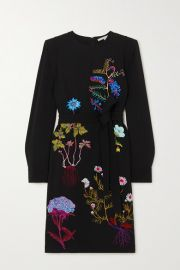 Stella McCartney -   NET SUSTAIN belted embroidered cady midi dress at Net A Porter