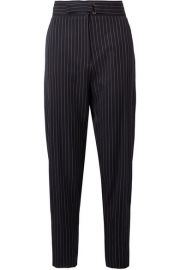 Stella McCartney   Kassidy belted pinstriped wool-blend tapered pants at Net A Porter