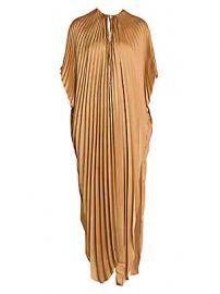 Stella McCartney - Pleated Tie-Waist Satin Maxi Dress at Saks Fifth Avenue