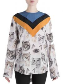 Stella McCartney - Varsity Stripe Cat Print Silk Blouse at Saks Off 5th