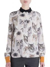 Stella McCartney - Wilson Silk Cat Print Blouse at Saks Off 5th