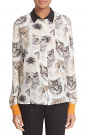 Stella McCartney Cat Print Silk Blouse at Nordstrom