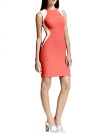 Stella McCartney Contour-Colorblock Sheath Dress Vermillion at Neiman Marcus