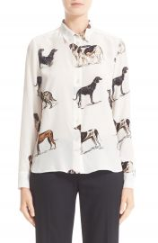 Stella McCartney Dog Print Silk Blouse at Nordstrom