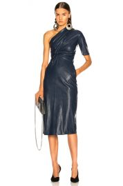 Stella McCartney Faux Leather One Shoulder Dress in Navy   FWRD at Forward