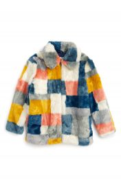 Stella McCartney Kids Abbie Faux Fur Colorblock Jacket  Big Girls at Nordstrom