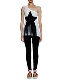 Stella McCartney One-Shoulder Star-Patch Top W Fringe   Tabatha Contrast-Stripe Pants at Neiman Marcus