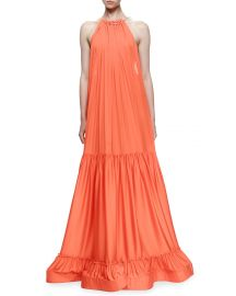 Stella McCartney Plisse Full-Skirt Halter Gown  Poppy at Neiman Marcus