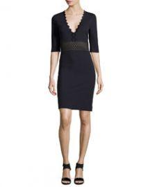 Stella McCartney Ric-Rac Half-Sleeve Dress Midnight at Neiman Marcus
